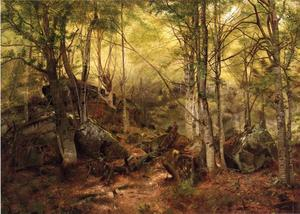 John George Brown - Deerhunter in the Woods