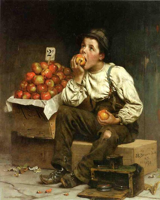 Eating the Profits, 1878 by John George Brown (1831-1913, United Kingdom) | Oil Painting | WahooArt.com