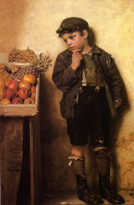 Eying the Fruit Stand, Oil On Canvas by John George Brown (1831-1913, United Kingdom)