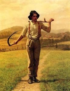 Order Art Reproductions | Fieldhand with Sythe, 1909 by John George Brown (1831-1913, United Kingdom) | WahooArt.com