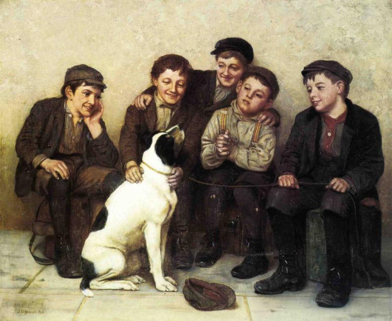 In Good Hands, Oil On Canvas by John George Brown (1831-1913, United Kingdom)