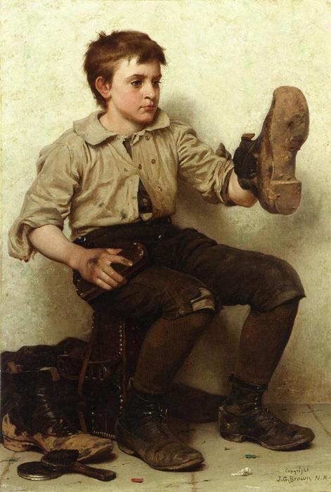 Jersey Mud, 1887 by John George Brown (1831-1913, United Kingdom) | Art Reproduction | WahooArt.com