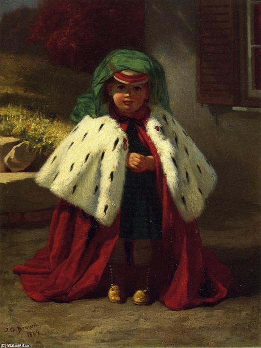 Little Girl with Ermine Coat, Oil On Panel by John George Brown (1831-1913, United Kingdom)