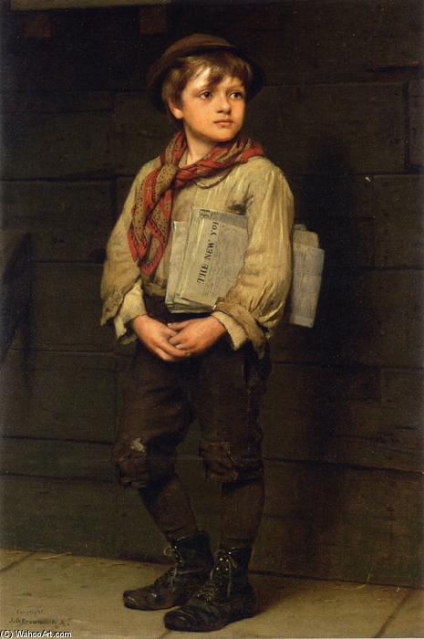 News Boy, Oil On Canvas by John George Brown (1831-1913, United Kingdom)
