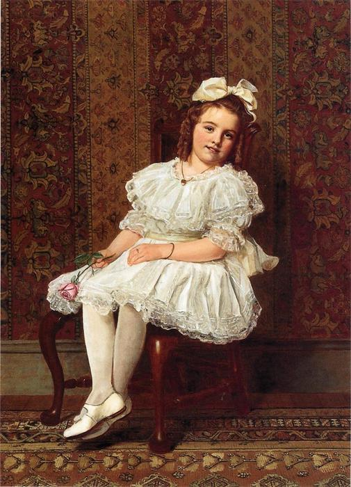 Portrait of Miss Gibson, Oil On Canvas by John George Brown (1831-1913, United Kingdom)