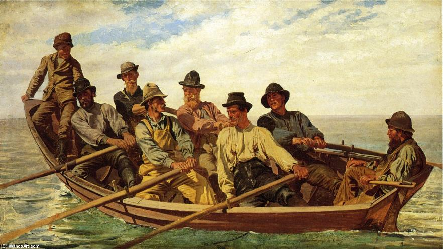 Pull for the Shore, 1877 by John George Brown (1831-1913, United Kingdom) | Museum Art Reproductions John George Brown | WahooArt.com