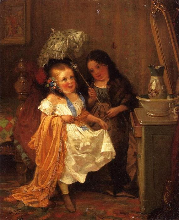 Putting on Airs, 1862 by John George Brown (1831-1913, United Kingdom) | Art Reproduction | WahooArt.com