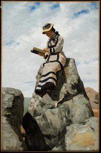 John George Brown - Reading on the Rocks, Grand Manan