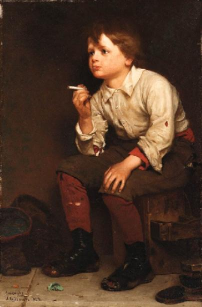 Shoeshine Boy Smoking by John George Brown (1831-1913, United Kingdom) | Painting Copy | WahooArt.com