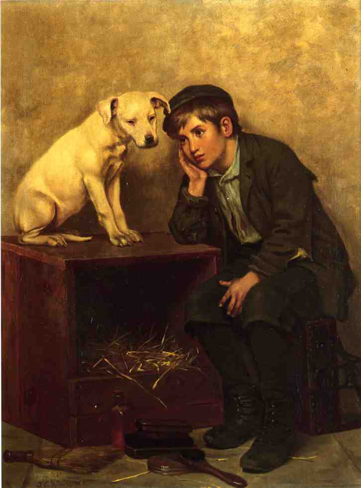Shoeshine Boy with His Dog, Oil On Canvas by John George Brown (1831-1913, United Kingdom)