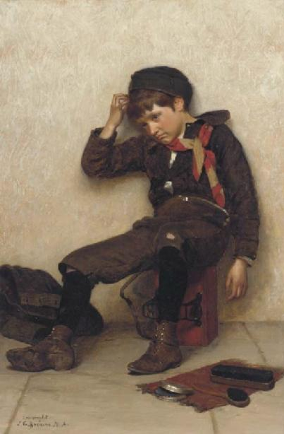 Slow Day by John George Brown (1831-1913, United Kingdom)