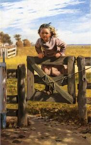 Order Painting Copy : Swinging on a Gate, Southampson, New York, 1878 by John George Brown (1831-1913, United Kingdom) | WahooArt.com