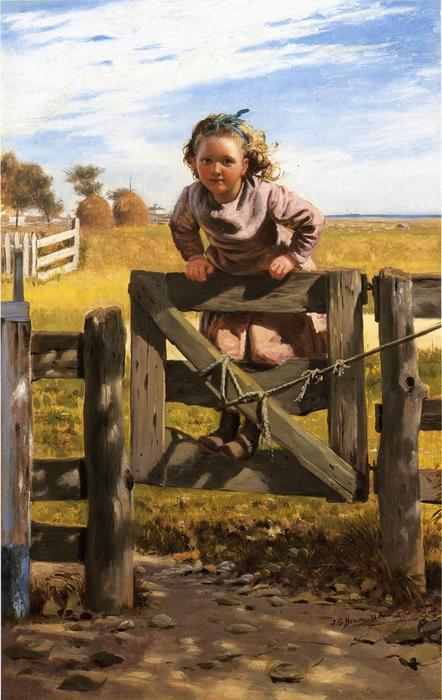 Swinging on a Gate, Southampson, New York, Oil On Canvas by John George Brown (1831-1913, United Kingdom)