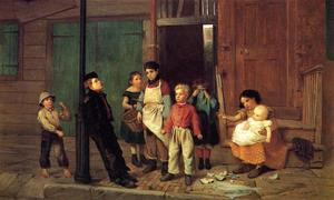 Order Reproductions | The Bully of the Neighborhood by John George Brown (1831-1913, United Kingdom) | WahooArt.com