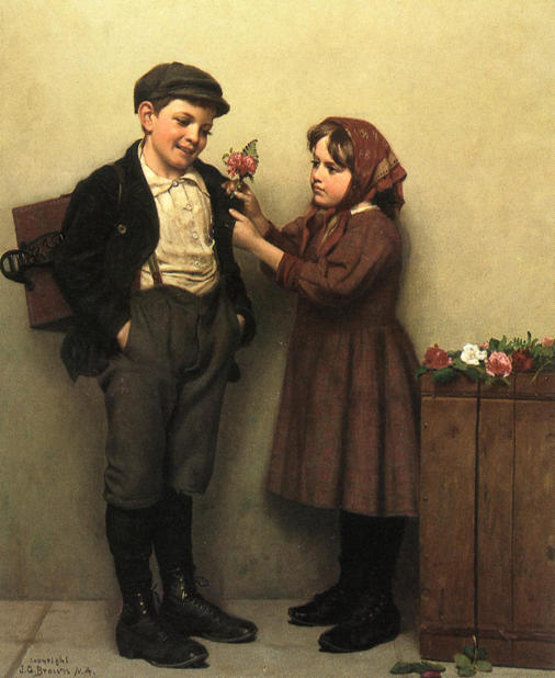 The Button Hole Posey by John George Brown (1831-1913, United Kingdom) | Famous Paintings Reproductions | WahooArt.com