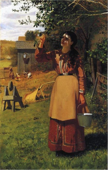 The Cherry Picker, Oil On Canvas by John George Brown (1831-1913, United Kingdom)