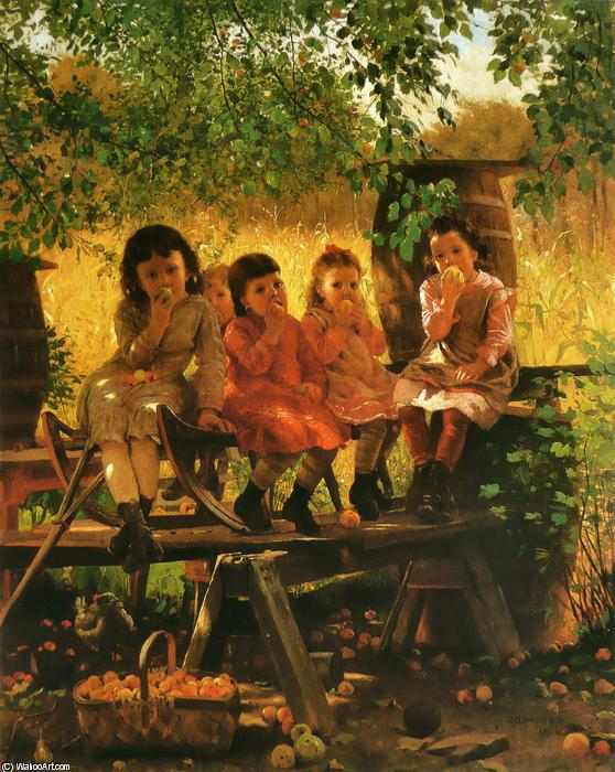 The Cider Mill, 1880 by John George Brown (1831-1913, United Kingdom) | Museum Art Reproductions John George Brown | WahooArt.com