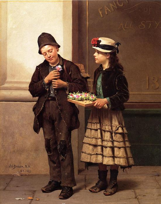The Flower Girl, 1877 by John George Brown (1831-1913, United Kingdom) | Museum Quality Copies John George Brown | WahooArt.com
