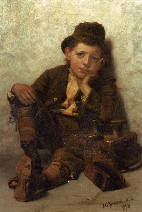 The Little Shoe-Shine Boy, 1878 by John George Brown (1831-1913, United Kingdom) | Reproductions John George Brown | WahooArt.com