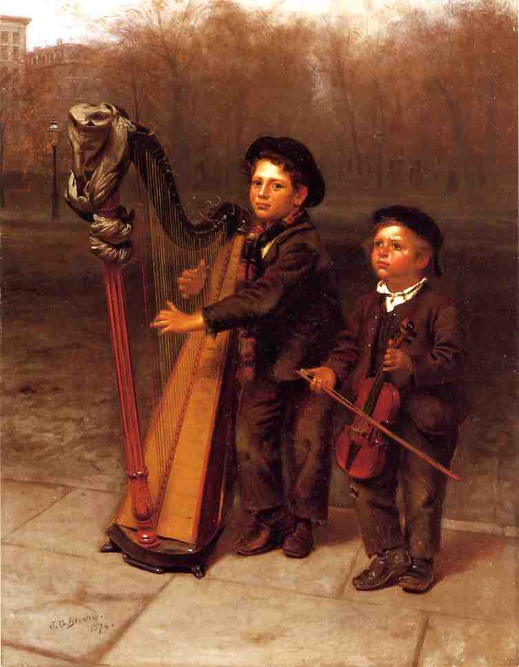 The Little Strollers, Oil On Canvas by John George Brown (1831-1913, United Kingdom)