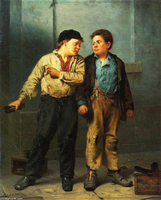 The Quarrel, 1866 by John George Brown (1831-1913, United Kingdom) | Art Reproductions John George Brown | WahooArt.com