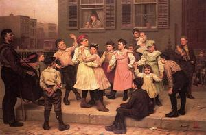 Order Art Reproduction : The Sidewalk Dance (aka A Sidewalk Dance) by John George Brown (1831-1913, United Kingdom) | WahooArt.com