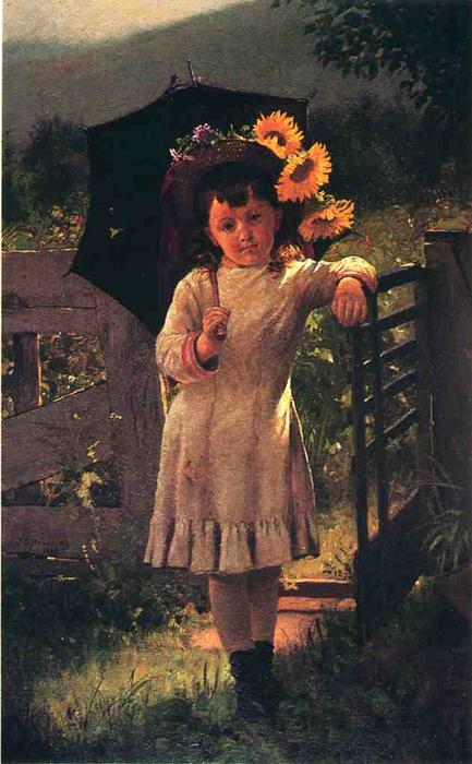 The Sunflower Girl, Oil On Canvas by John George Brown (1831-1913, United Kingdom)