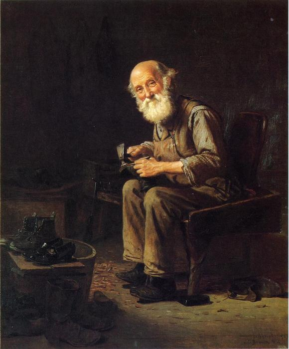 The Village Cobbler, Oil On Canvas by John George Brown (1831-1913, United Kingdom)