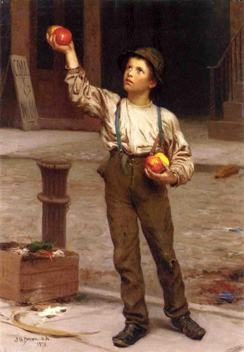 The Young Apple Salesman, 1878 by John George Brown (1831-1913, United Kingdom) | WahooArt.com
