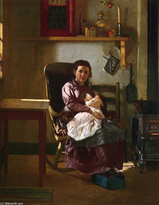 The Young Mother, Oil On Canvas by John George Brown (1831-1913, United Kingdom)
