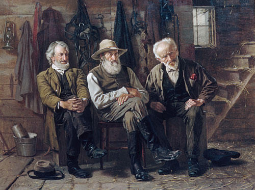To Decide the Question by John George Brown (1831-1913, United Kingdom)