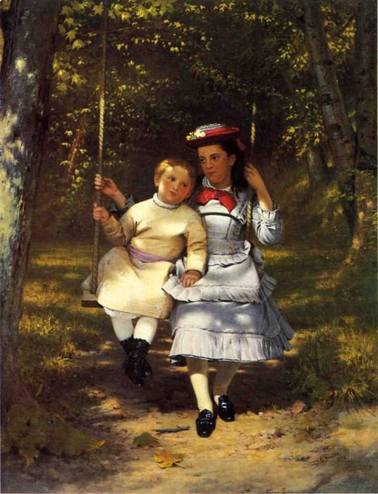 Two Girls on a Swing, 1872 by John George Brown (1831-1913, United Kingdom) | Art Reproductions John George Brown | WahooArt.com