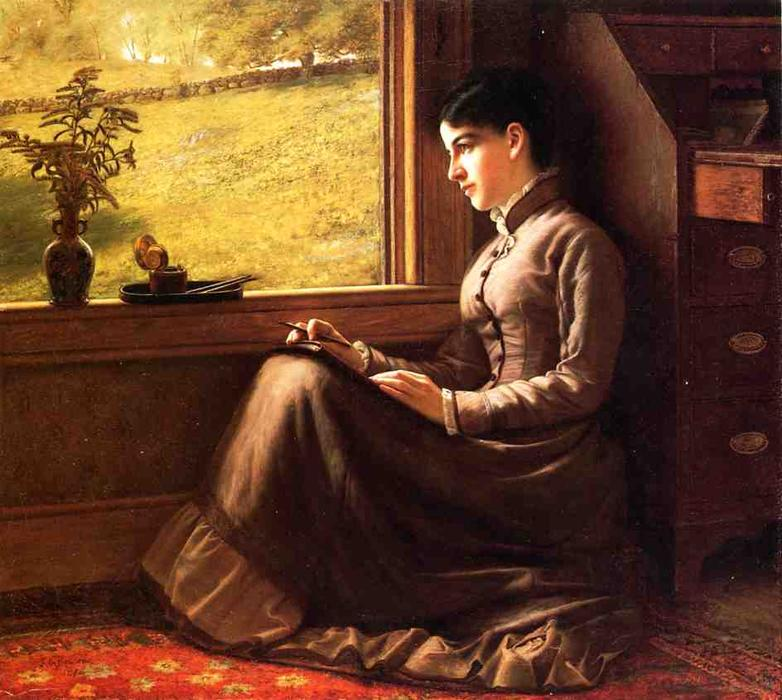 Woman Seated at Window, 1872 by John George Brown (1831-1913, United Kingdom) | Art Reproductions John George Brown | WahooArt.com