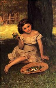 John George Brown - Young Girl with Flowers