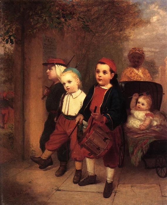 Young Recruits, Oil On Canvas by John George Brown (1831-1913, United Kingdom)