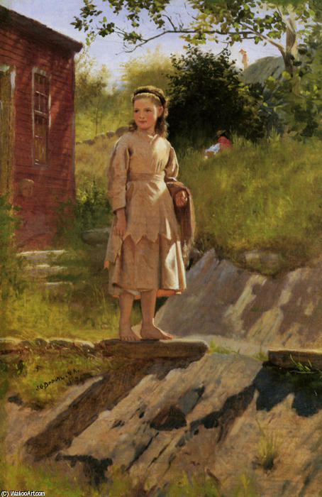 Young Young Girl by John George Brown (1831-1913, United Kingdom) | Oil Painting | WahooArt.com