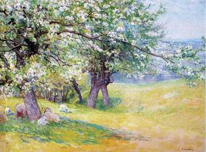 John Joseph Enneking - Sheep under the Apple Blossoms