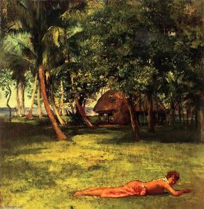 John La Farge - In Front of Our House, Vaila - Girl on Grass