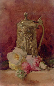 John White Alexander - Still Life with Flagon and Roses