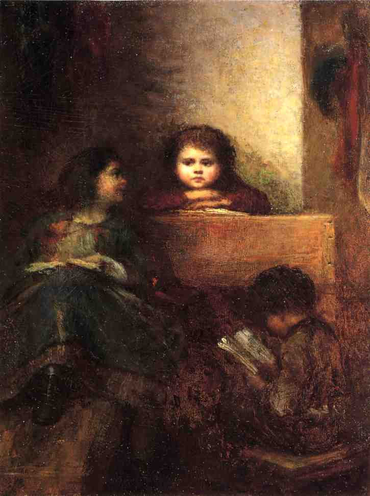 Children Reading by Jonathan Eastman Johnson (1824-1906, United Kingdom)