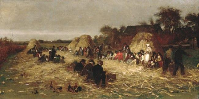 Corn Husking at Nantucket by Jonathan Eastman Johnson (1824-1906, United Kingdom)