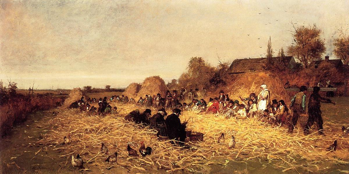 Order Famous Paintings Reproductions : Husking Bee, Island of Nantucket by Jonathan Eastman Johnson (1824-1906, United Kingdom) | WahooArt.com