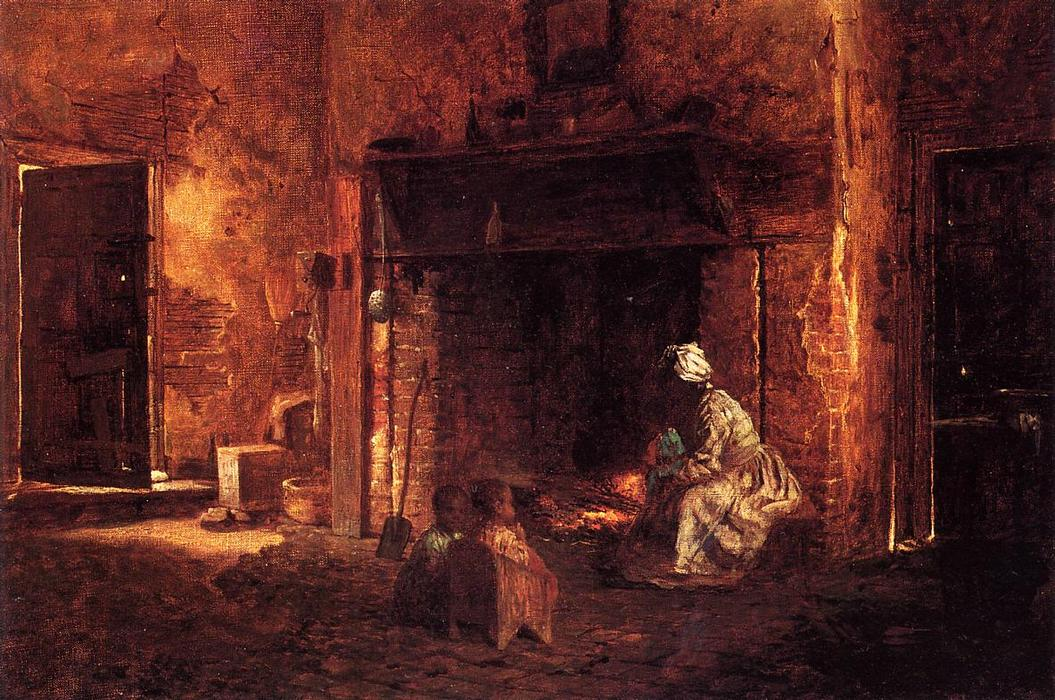 Kitchen at Mount Vernon by Jonathan Eastman Johnson (1824-1906, United Kingdom) | Art Reproduction | WahooArt.com