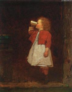 Jonathan Eastman Johnson - Little Girl with Red Jacket Drinking from Mug