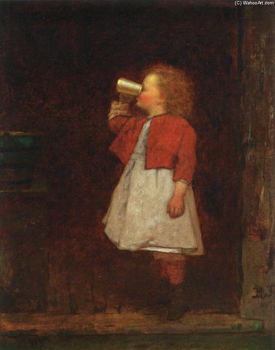 Little Girl with Red Jacket Drinking from Mug by Jonathan Eastman Johnson (1824-1906, United Kingdom)