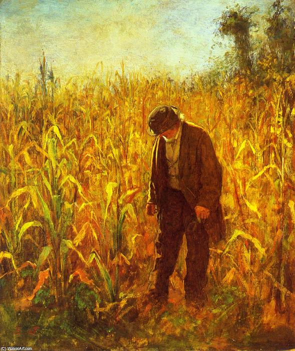 Man in a Cornfield by Jonathan Eastman Johnson (1824-1906, United Kingdom) | Art Reproduction | WahooArt.com