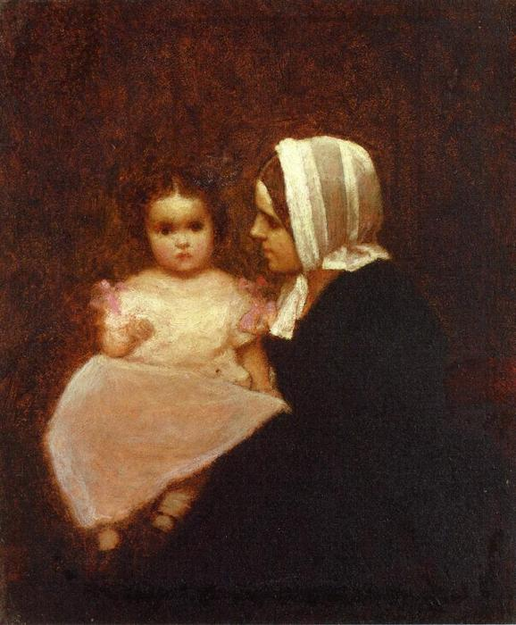 Mother and Child 1 by Jonathan Eastman Johnson (1824-1906, United Kingdom) | Art Reproduction | WahooArt.com