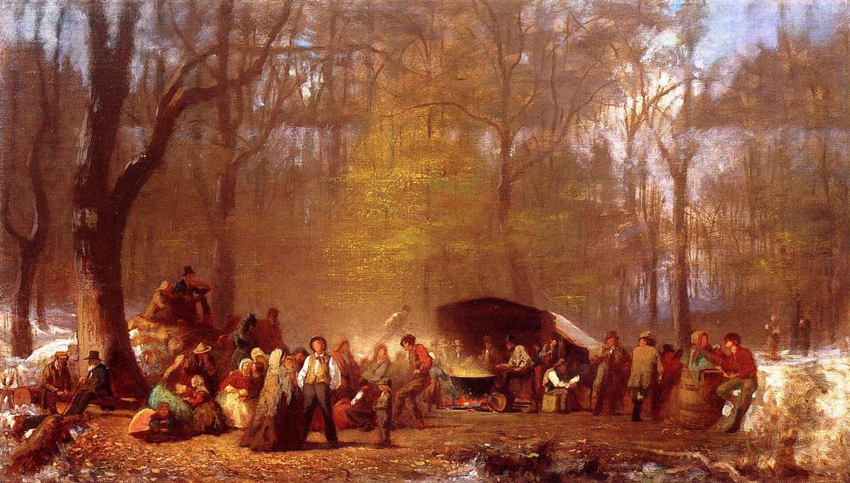 Sugaring Off at the Camp, Fryeburg, Maine by Jonathan Eastman Johnson (1824-1906, United Kingdom)