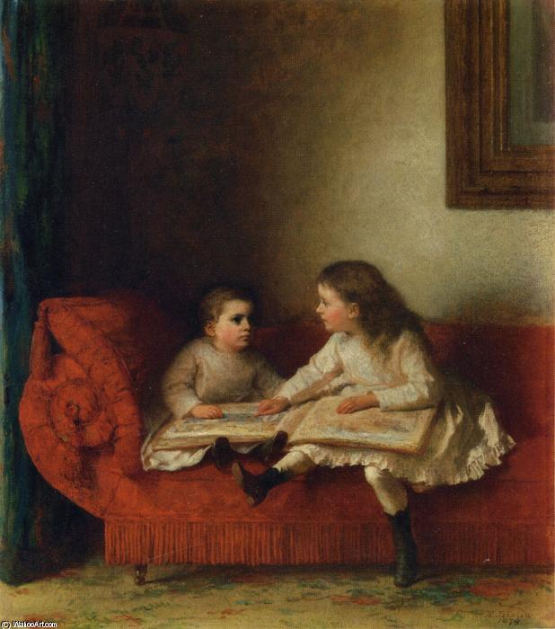The Lesson (aka The Lesson with Page N.O.P. of the Alphabet Book) by Jonathan Eastman Johnson (1824-1906, United Kingdom)