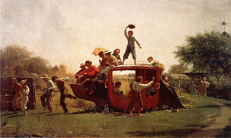 Order Museum Quality Reproductions : The Old Stagecoach, 1871 by Jonathan Eastman Johnson (1824-1906, United Kingdom) | WahooArt.com